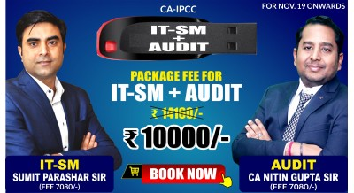 CA-IPCC IT-SM and Audit & Assurance Combo Pendrive Classes by Sumit Parashar Sir and CA Nitin Gupta Sir - Full HD Video Lecture + HQ Sound